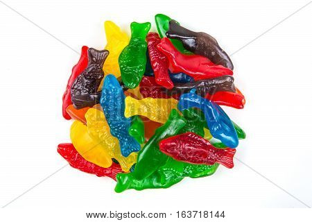 Gummy Fish Assorted Colors Isolated On A White Background