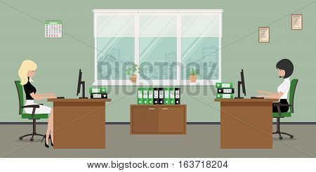 Web banner of two office workers. The young women are an employees at work. There is furniture in brown color on a windows background in the picture. Vector flat illustration