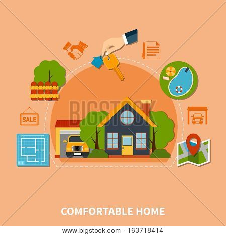 Colorful real estate concept with comfortable home flat icons vector illustration