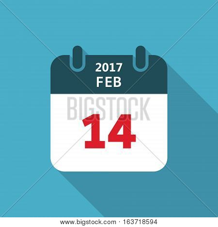 Valentines day flat calendar icon 14 february vector isolated sheet.
