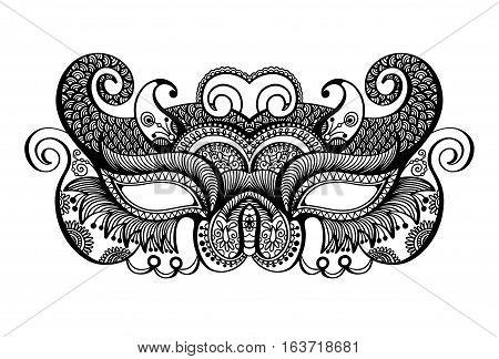 hand drawing black lineart venetian carnival mask silhouette, vector illustration