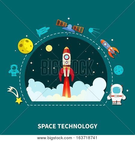 Space technology concept spaceship and satellite symbols flat vector illustration