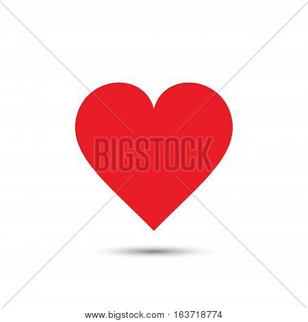 Heart icon vector red simple isolated illustration.