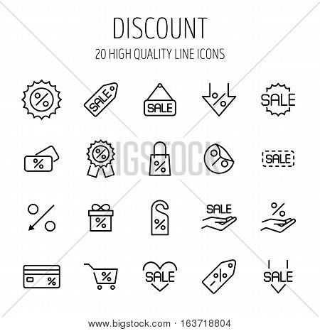 Set of discount icons in modern thin line style. High quality black outline sale symbols for web site design and mobile apps. Simple linear discount pictograms on a white background.