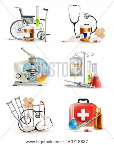 Healthcare and first aid elements set with crutches stethoscope wheelchair and domestic medicine box decorative images vector illustration