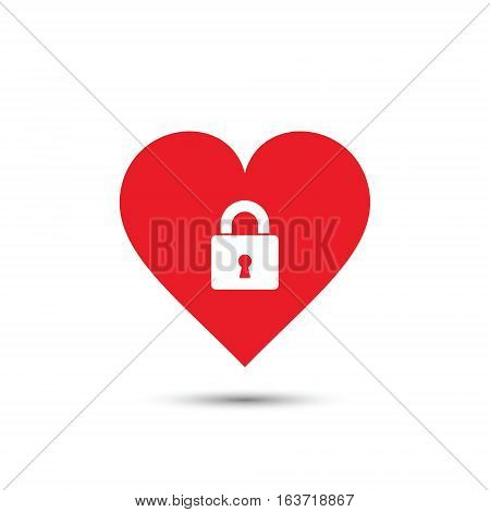 Heart lock icon vector isolated valentine illustration.