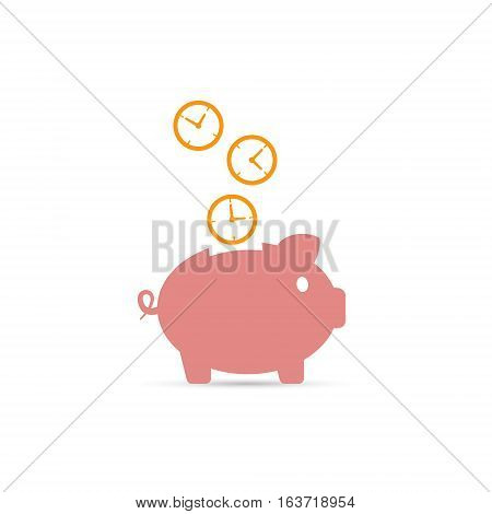 Time is money piggy bank icon vector illustration. Save time concept.
