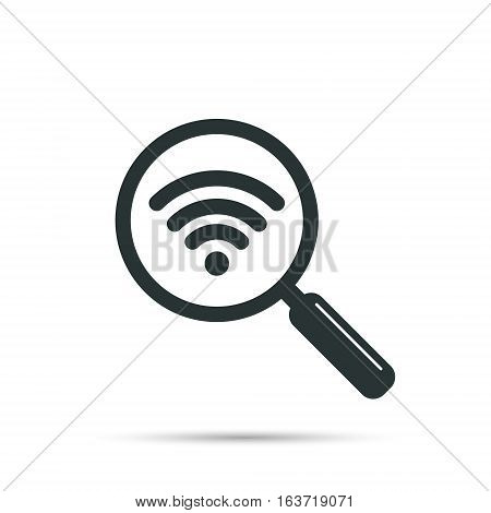 Search wifi signal icon vector isolated on white.