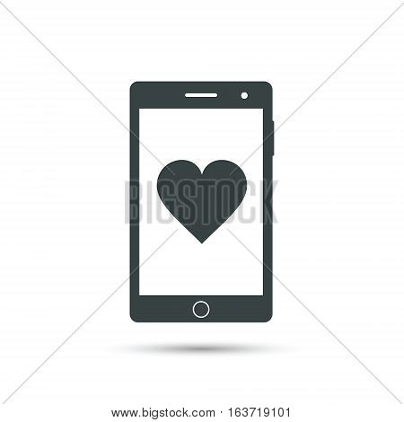 Smartphone with heart icon vector isolated illustration.