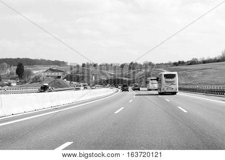 Bus Cars And Trucks On Busy Autobahn