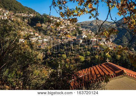 Scenic Mountain Autumn Landscape With  Village Langadia, Peloponnese, Greece