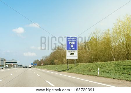 Autobahnhotel Baden-Baden or highway Church sign seen on the German Autobahn near the city of Baden in Germany