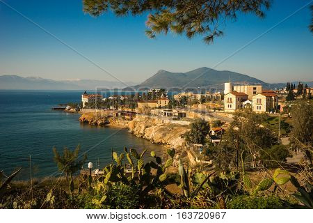 Urban Landscape With Seaview In Loutra Edipsou, Evia, Greece