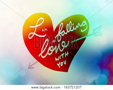I am falling in love with you word letter on heart illustration