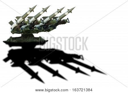 Military missile system ready to attack. War weapon.