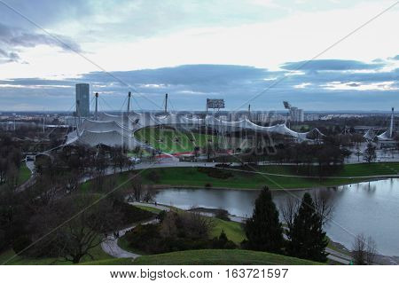 Munich Germany - December 25 2014: view of the Olympic stadium in Olympia park on December 25 2014 in Munich Germany.
