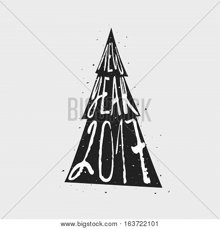 Christmas tree and lettering isolated on a white background. Creative vector illustration. 2017. Happy New Year and Merry Christmas. For prints. For cards. For invitations.vitations.