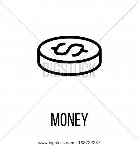 Money icon or logo in modern line style. High quality black outline pictogram for web site design and mobile apps. Vector illustration on a white background.
