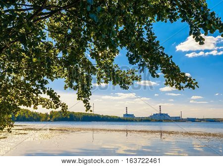 green tree on foreground and Smolensk nuclear power plant on background
