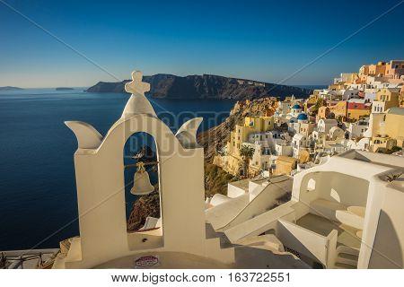 White And Blue Church In Oia, Santorini, Greece