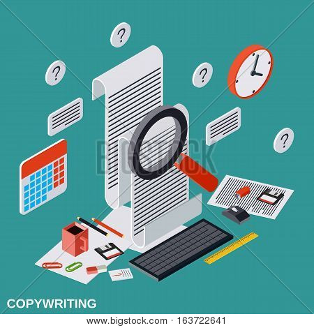 Copywriting, editing, journalism, publication flat isometric vector concept illustration