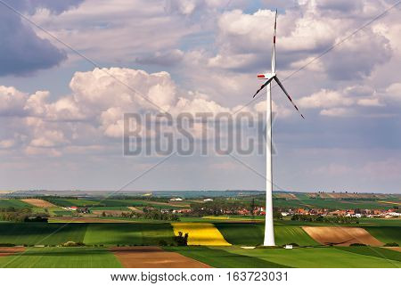 Eco Power. Wind Turbines Generating Electricity.