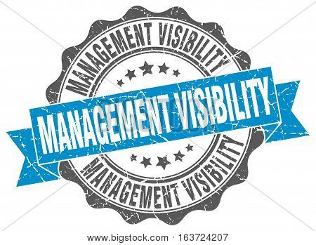 management visibility. stamp. sign. seal. round. retro. ribbon