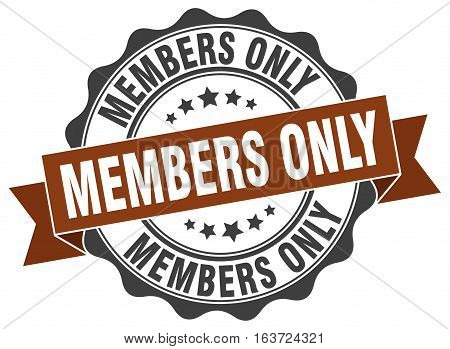 members only. stamp. sign. seal. round. retro. ribbon