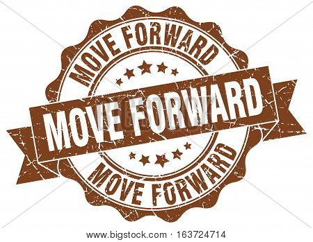 move forward. stamp. sign. seal. round. retro. ribbon