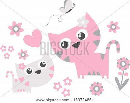 cute little cat with mom flowers and butterfly isolated on white background