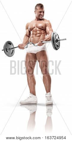 Muscular Bodybuilder Posing With Dumbbell