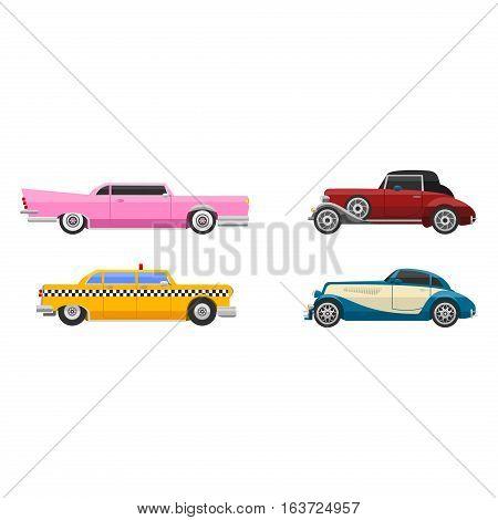 Retro cars icons vintage vector. Classic transportation auto nostalgia old design. Graphic emblem race engine machine shop antique wheels collection.