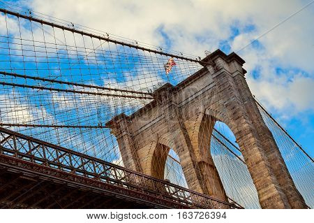 Clouds Above Brooklyn Bridge, Wide Angle View - New York