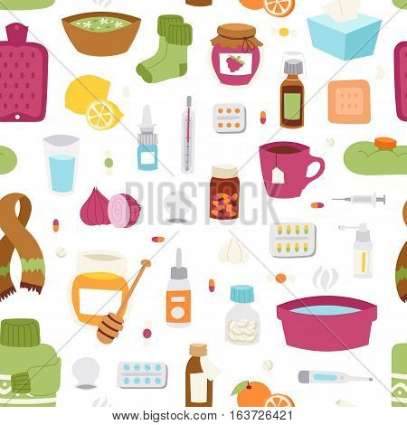 Flu influenza seamless pattern vector. Disease treatment infectious virus bottle illustration. Pharmacy temperature aid care sickness tablets cure bowls.
