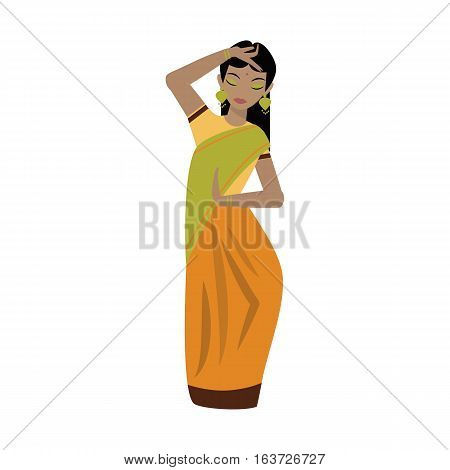 Young traditional indian happy woman ethnicity clothes portrait vector character illustration. Fashion lifestyle asian beautiful attractive culture.