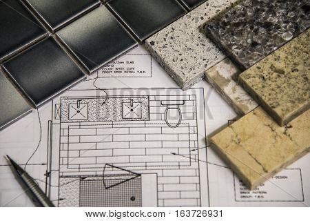 Beautiful remodel selection of bathroom granite countertops, floor tiles and design.