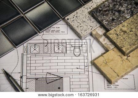 Beautiful remodel selection of bathroom granite countertops, floor tiles and design.