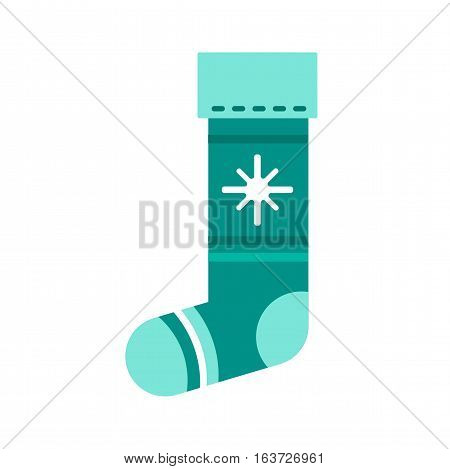 Flat design colorful sock vector illustration. Textile warm cute decoration wool winter clothing. Sport season foot wear on white background..