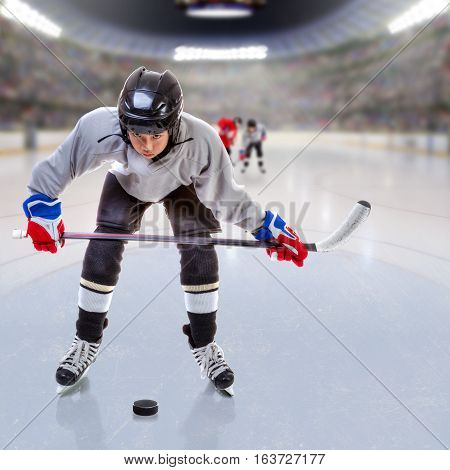 Junior ice hockey player handling puck on ice with arena full of fans in the stands and copy space.  Focus on player and shallow depth of field on background.