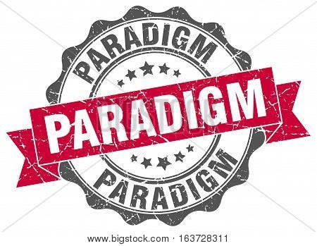 paradigm. stamp. sign. seal. round. retro. ribbon