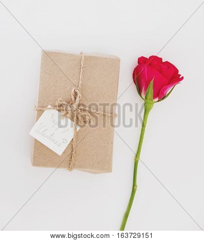 Gift box with roses flowers, for valentines day gift, on white table