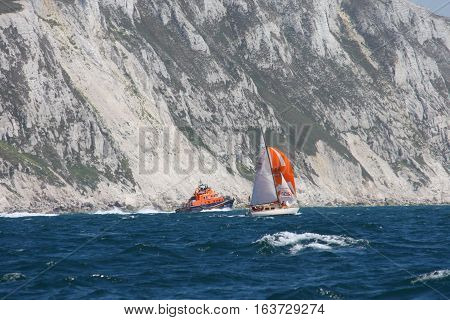Sailing Boats At Sea During The Round The Island Race