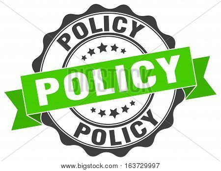 policy. stamp. sign. seal. round. retro. ribbon
