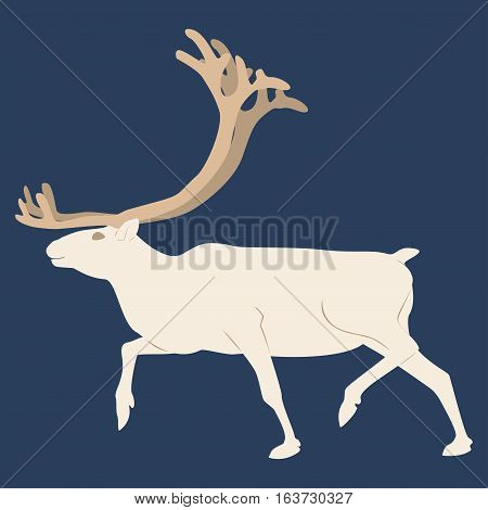 The Northern deer. Blue background Winter Christmas. Northern nature. Northern animals.