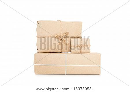 Parcel post boxes, isolated on white background