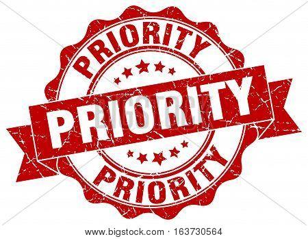 priority. stamp. sign. seal. round. retro. ribbon