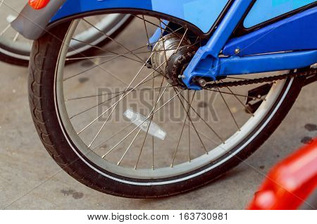 Close-up Bike chain spinning back tire , rear wheel spinning bike rear wheel