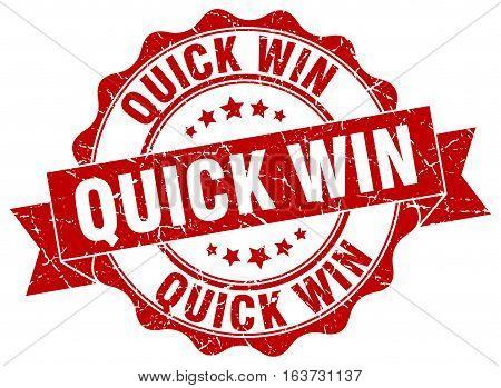 quick win. stamp. sign. seal. round. retro. ribbon