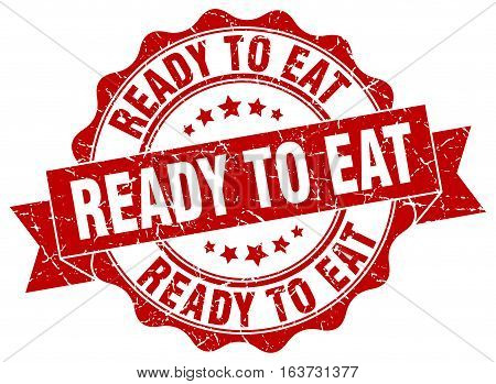 ready to eat. stamp. sign. seal. round. retro. ribbon
