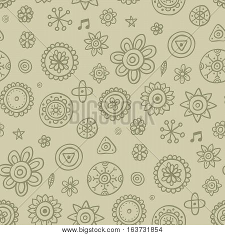 Cute Seamless Pattern With Flowers And Abstract Elements On Desaturated Background. Eps-10 Vector